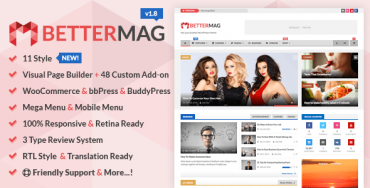 BetterMag v1.6 – Magazine, Review, Shop WordPress Theme