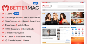 BetterMag v1.9.1 – Magazine, Review, Shop WordPress Theme