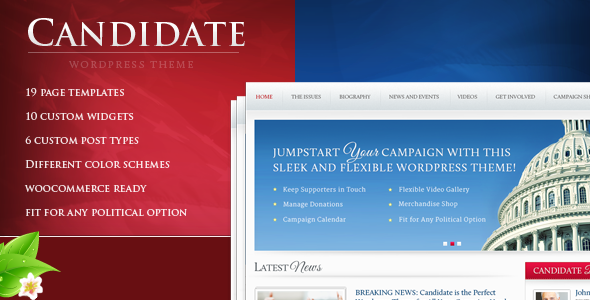 Download Candidate – Themeforest Political WordPress Theme