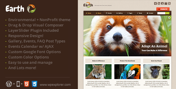 Download Earth v3.3 – Eco/Environmental NonProfit WordPress Theme