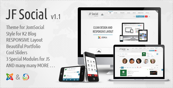 JF Social 2.0 – Joomla JomSocial Kunena Template JomSocial 3.0.4 Pro Included
