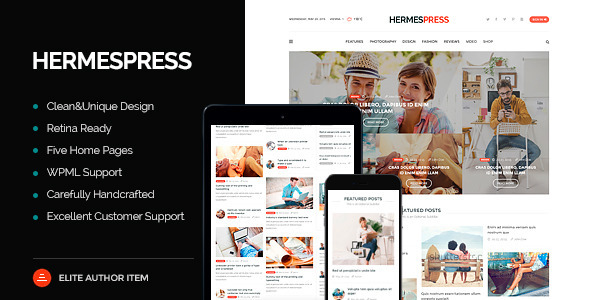 HermesPress v1.3.1 – Magazine / Newspaper WordPress Theme