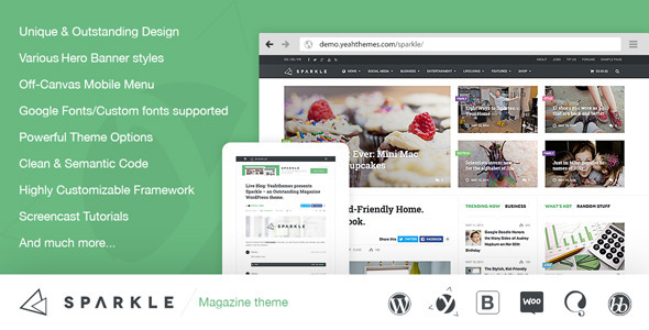 Sparkle v1.0.5.2 – Outstanding Magazine theme for WordPress