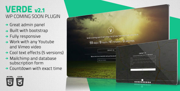 Verde v2.1 – Responsive WordPress Coming Soon Plugin
