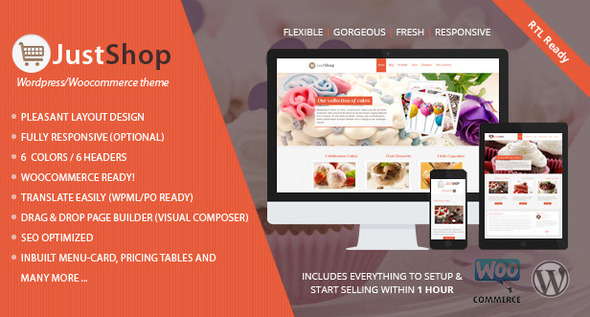 Justshop v6.5 – Cake Bakery WordPress Theme