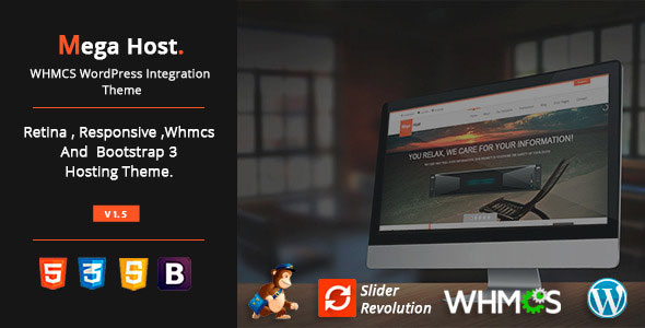 MegaHost v1.5 – WHMCS WordPress Integration Theme
